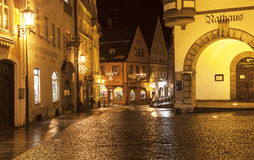 Night street of town of Fussen. Royalty Free Stock Image