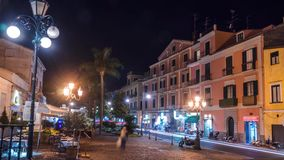 Night street traffic in small mountains Italian city Sorrento, Napoli coast, time lapse, timelapse, Travel and vacation in Europe stock footage