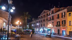 Night street traffic in small mountains Italian city Sorrento, Napoli coast, time lapse, timelapse, Travel and vacation in Europe stock video footage