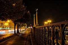 Night street with trees and steel banisters close to riverbank. Stock Photos