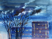 Night street view. Cityscape in twilight with houses and trees. Hand-drawn watercolor painting. Stock Image