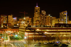 Night Street View of Downtown Denver Royalty Free Stock Images