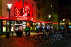 Night street view on Filmstaden cinema at Davidshall, Malmo, Sweden. Bicycle parking royalty free stock photo