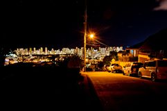 Night street view of Honolulu skyline Stock Images