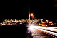 Night street view of Honolulu skyline Stock Image