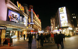 Night street view of Leicester Square Royalty Free Stock Images