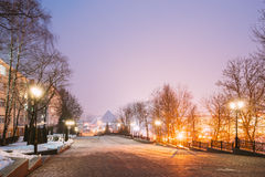 Night Street View Of Lenin With Gogol Street In Evening Or Night Stock Photo