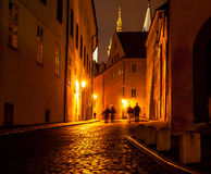 Night street view of old town Stock Photos