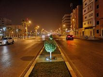 Night street view. Picture of a famous street in Laayoune, Morocco stock photography
