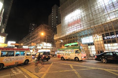 Night street view of Yuen Long, Hong Kong Royalty Free Stock Photo