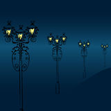 Night street with vintage lanterns Stock Images