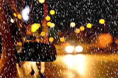 Night street in the winter Royalty Free Stock Images