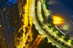 Night Streets of Chicago. Chicago Lake Shore Drive From Above. Traffic Motion in Long Exposure Photography. American Cities Photo Collection Royalty Free Stock Images