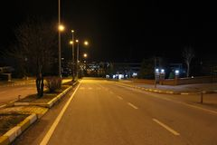 Night and streets. Night and library at canakkale comu university Royalty Free Stock Photography