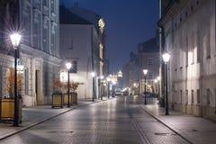 Night streets lights in Krakow Stock Photo