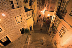 Night streets Lisbon Royalty Free Stock Image