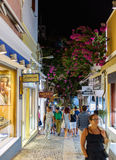 Night streets with many open souvenir shops at Thira town Royalty Free Stock Photography