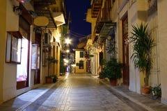 Night streets of Nafplio. Royalty Free Stock Photos