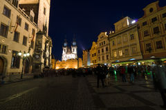 Night streets of Prague Stock Photo