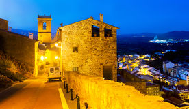 Night streets of Villafames, town in Spain royalty free stock images