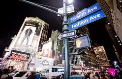 Night streetscene on 7th Av. in New York Stock Image