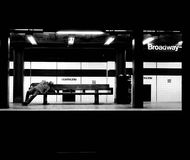 Night on the subway in New York. Photo taken in the subway of New York at night, the photo portrays a person sleeping on a bench in a moment of calm in what is stock photo