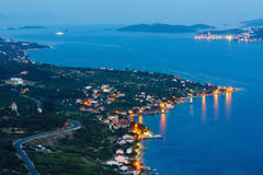 Night summer coastline and village  on seashore (Pelješac  peni Royalty Free Stock Image