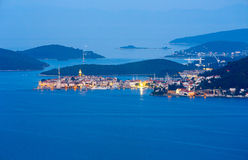 Night summer Korcula village and island , Croatia. Royalty Free Stock Photos