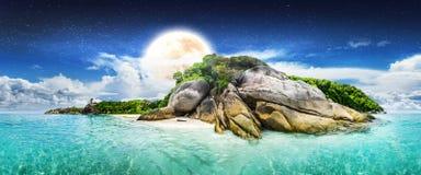 Night summer lagoon island Stock Image