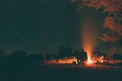 Night. Summer nights around the campfire Stock Photos