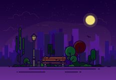 Night park line illustration. Night summer park with a bench and a glowing lamp against the background of the city. Various trees and bushes, online clouds with royalty free illustration