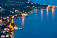 Night summer village on seashore(Croatia) Stock Photo