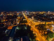 Night summer Voronezh, aerial view. Tower of management of south-east railway and Revolution prospect royalty free stock photography