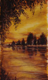 Night sunset, Lake of the Woods. Trees reflected in water vector illustration