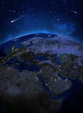 Night surface of the planet earth Stock Images