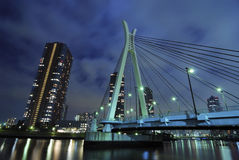 Night suspension bridge Royalty Free Stock Image