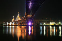 Night suspension bridge across Chao Phraya River Royalty Free Stock Image