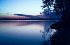 Night swallowing smooth of river Royalty Free Stock Images