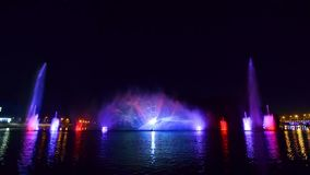 Night Swan Lake show at Roshen fountain stock video