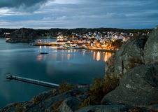 Night in Sweden. Night view from hill on Gullmarsstrand, Sweden Royalty Free Stock Images