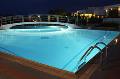 Night swimming pool Royalty Free Stock Photo