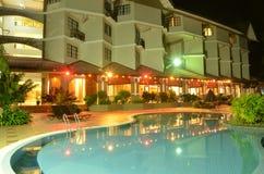 Night swimming-pool. Light swimming-pools for night Stock Photo