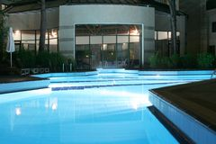 Night swimming pool. Water,hotel Stock Photography