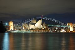 Night Sydney Opera House with Harbour Bridge stock images