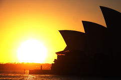 Night Sydney Opera House at sunrise stock image