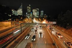 Night sydney traffic. Expressway in sydney, night traffic, CBD in background, blurred cars Stock Photo