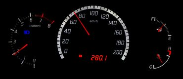 Night tacho. Speedo, tacho, fuel gages and engine temp Royalty Free Stock Image