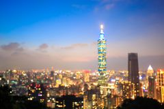 Taipei city defocus bokeh. Night taipei city defocus bokeh in taiwan Royalty Free Stock Photography