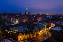 Night Tallin city. A view from hill over night Tallin city Stock Photos
