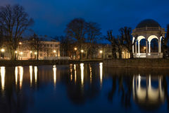 Night Tallinn lights. Kadriorg park at night. Blue sky, reflection in still water Royalty Free Stock Photography